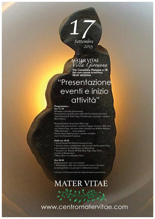 Locandina 17 Settembre 2015 Presentazione Eventi Mater Vitae
